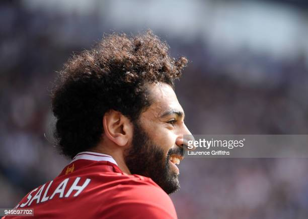 Mohamed Salah of Liverpool smiles during the Premier League match between West Bromwich Albion and Liverpool at The Hawthorns on April 21 2018 in...