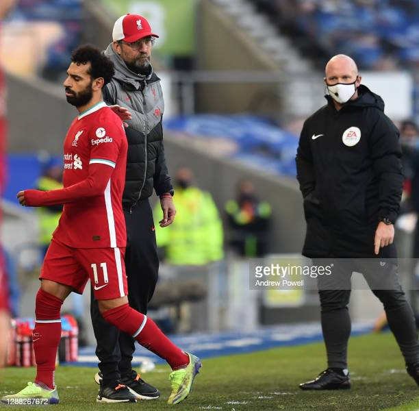 Mohamed Salah of Liverpool substitued during the Premier League match between Brighton & Hove Albion and Liverpool at American Express Community...