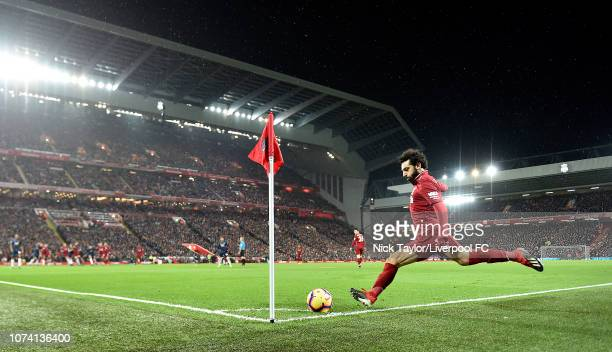 Mohamed Salah of Liverpool takes a corner during the Premier League match between Liverpool FC and Manchester United at Anfield on December 16 2018...