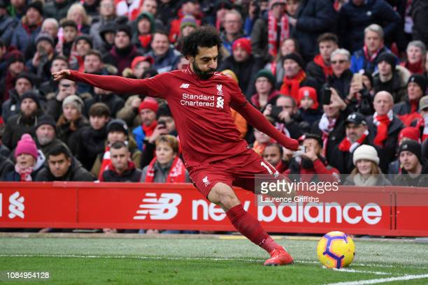 Mohamed Salah of Liverpool takes a corner during the Premier League match between Liverpool FC and Crystal Palace at Anfield on January 19 2019 in...