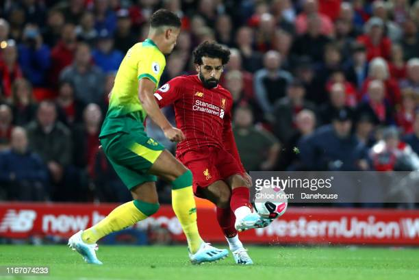Mohamed Salah of Liverpool takes a shot at goal during the Premier League match between Liverpool FC and Norwich City at Anfield on August 09 2019 in...