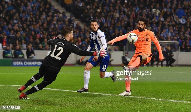 Mohamed Salah of Liverpool takes the ball around Jose Sa of FC Porto to score the second goal during the UEFA Champions League Round of 16 First Leg...