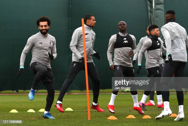 Mohamed Salah of Liverpool trains with his team during a Liverpool FC Training session at Anfield on March 10 2020 in Liverpool United Kingdom...