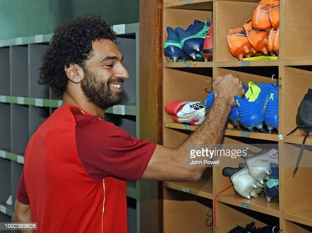 Mohamed Salah of Liverpool undergoes tests during a training session on his first day back at Melwood Training Ground on July 20 2018 in Liverpool...