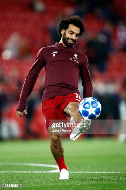 Mohamed Salah of Liverpool warms up prior to the Group C match of the UEFA Champions League between Liverpool and Paris SaintGermain at Anfield on...