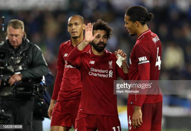 Mohamed Salah of Liverpool waves at the final whistle during the Premier League match between Huddersfield Town and Liverpool FC at John Smith's...