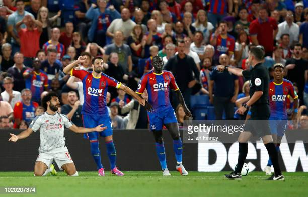 Mohamed Salah of Liverpool wins a penalty from during the Premier League match between Crystal Palace and Liverpool FC at Selhurst Park on August 20...