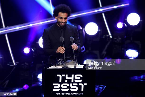 Mohamed Salah of Liverpool wins the trophy for the FIFA Puskas Award 2018 during the The Best FIFA Football Awards Show at Royal Festival Hall on...