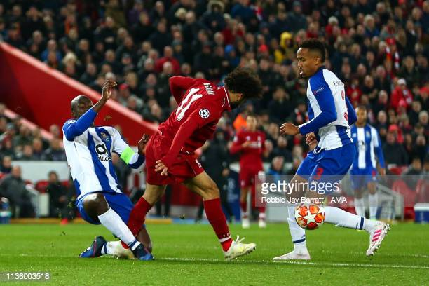 Mohamed Salah of Liverpool with a bad tackle on Danilo Pereira of FC Porto which is not awarded with VAR during the UEFA Champions League Quarter...