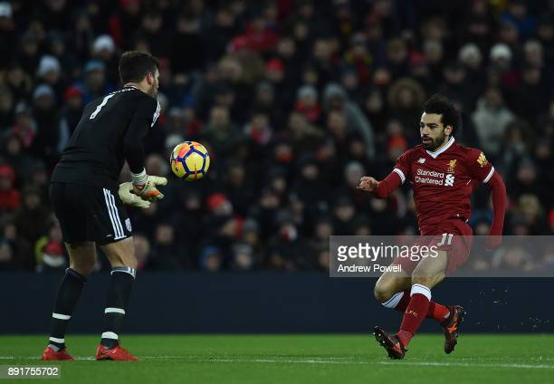 Mohamed Salah of Liverpool with Ben Foster of west Brom during the Premier League match between Liverpool and West Bromwich Albion at Anfield on...