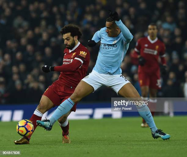 Mohamed Salah of Liverpool with Danilo of Man City during the Premier League match between Liverpool and Manchester City at Anfield on January 14...
