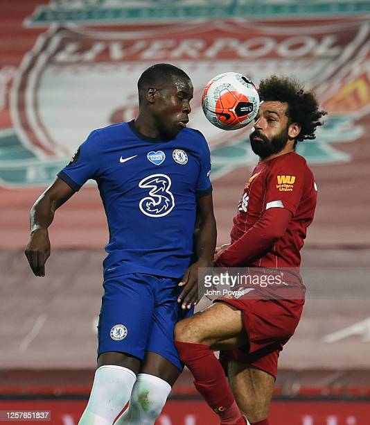 Mohamed Salah of Liverpool with Kurt Zouma of Chelsea during the Premier League match between Liverpool FC and Chelsea FC at Anfield on July 22 2020...