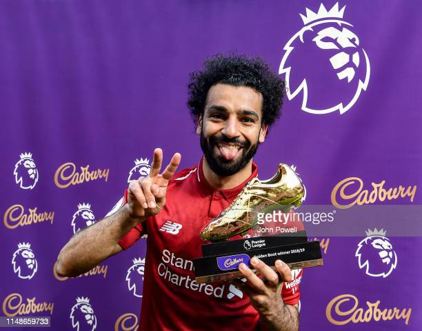 Mohamed Salah of Liverpool with the golden boot at the end of the Premier League match between Liverpool FC and Wolverhampton Wanderers at Anfield on...