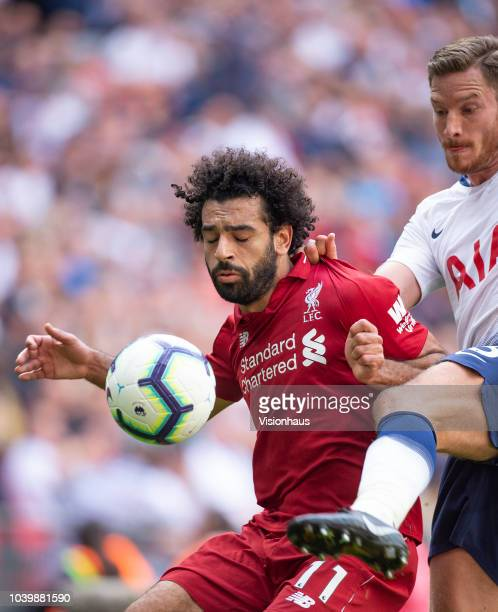 Mohamed Salah of Liverppol and Jan Vertonghen of Tottenham Hotspur during the Premier League match between Tottenham Hotspur and Liverpool FC at...