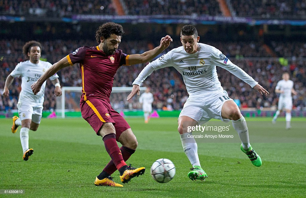 Mohamed Salah of Roma and James Rodriguez of Real Madrid in action during the UEFA Champions League Round of 16 Second Leg match between Real Madrid and Roma at Estadio Santiago Bernabeu on March 8, 2016 in Madrid, Spain.