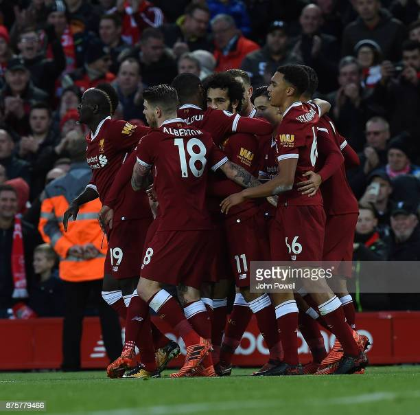 Mohamed Salah Scores his second and celebrates of Liverpool during the Premier League match between Liverpool and Southampton at Anfield on November...