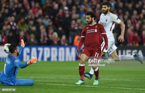 Mohamed Salah Scores the second goal for Liverpool during the UEFA Champions League Semi Final First Leg match between Liverpool and AS Roma at...