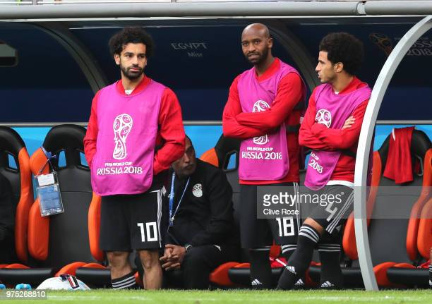 Mohamed Salah Shikabala and Omar Gaber of Egypt look on dejected during the 2018 FIFA World Cup Russia group A match between Egypt and Uruguay at...
