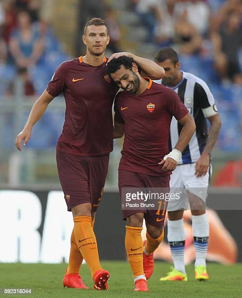 Mohamed Salah with his teammate Edin Dzeko of AS Roma celebrates after scoring the team's fourth goal during the Serie A match between AS Roma and...
