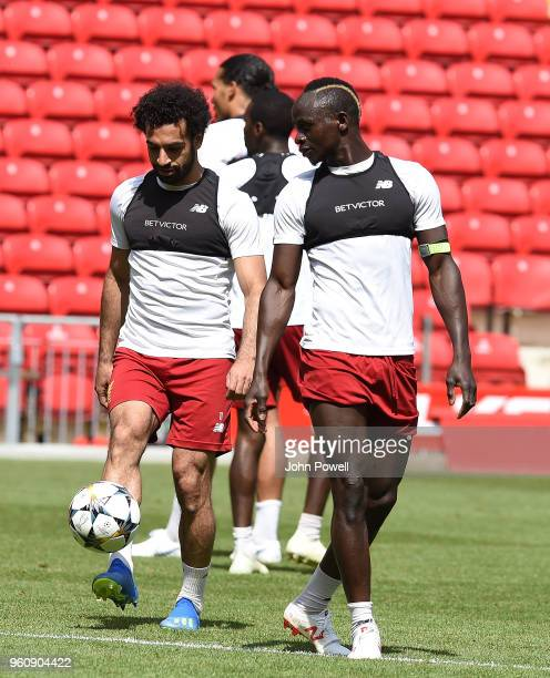 Mohamed SalahSadio Mane of Liverpool during the Training session at Anfield on May 21 2018 in Liverpool England