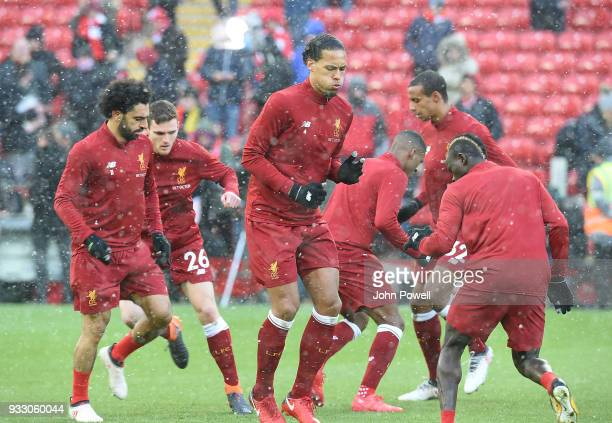 Mohamed SalahVirgil Van Dijk of Liverpool before the Premier League match between Liverpool and Watford at Anfield on March 17 2018 in Liverpool...