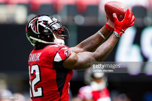 Mohamed Sanu of the Atlanta Falcons catches a pass prior to the game against the Los Angeles Rams at Mercedes-Benz Stadium on October 20, 2019 in...