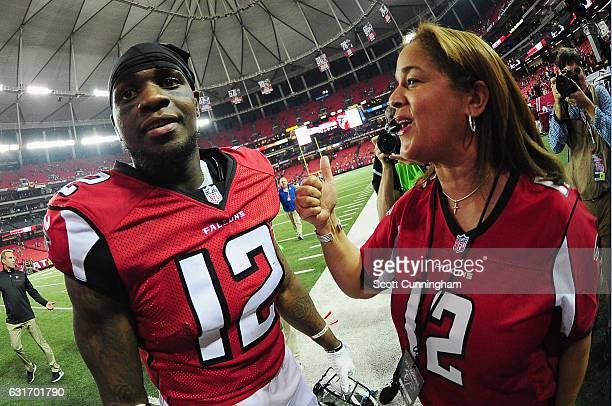 Mohamed Sanu of the Atlanta Falcons celebrates beating the Seattle Seahawks at the Georgia Dome on January 14 2017 in Atlanta Georgia