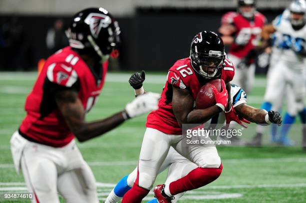 Mohamed Sanu of the Atlanta Falcons during the second half against the Carolina Panthers at MercedesBenz Stadium on December 31 2017 in Atlanta...