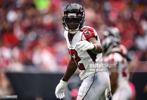 Mohamed Sanu of the Atlanta Falcons in action in the third quarter against the Houston Texans at NRG Stadium on October 06, 2019 in Houston, Texas.