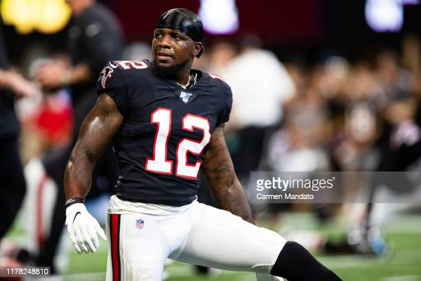Mohamed Sanu of the Atlanta Falcons looks on prior to the start of the game against the Tennessee Titans at Mercedes-Benz Stadium on September 29,...