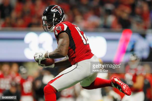 Mohamed Sanu of the Atlanta Falcons makes a reception during the first half against the Green Bay Packers at MercedesBenz Stadium on September 17...
