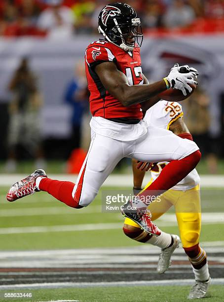 Mohamed Sanu of the Atlanta Falcons pulls in this reception against Dashaun Phillips of the Washington Redskins at Georgia Dome on August 11 2016 in...