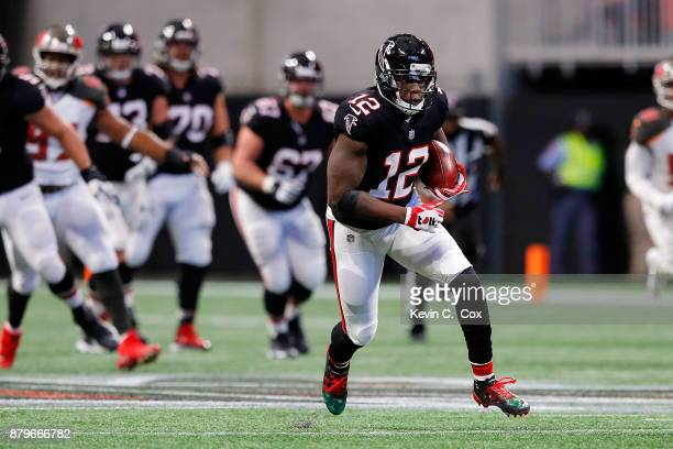Mohamed Sanu of the Atlanta Falcons runs after a catch during the second half against the Tampa Bay Buccaneers at MercedesBenz Stadium on November 26...