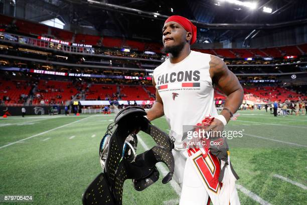 Mohamed Sanu of the Atlanta Falcons runs off the field after beating the Tampa Bay Buccaneers at MercedesBenz Stadium on November 26 2017 in Atlanta...