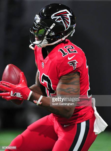 Mohamed Sanu of the Atlanta Falcons warms up before the game the New Orleans Saints at MercedesBenz Stadium on December 7 2017 in Atlanta Georgia
