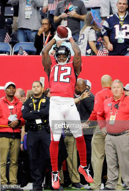 Mohamed Sanu of the Atlanta Falcons warms up during pregame warm ups prior to the start of Super Bowl 51 against the New England Patriots at NRG...