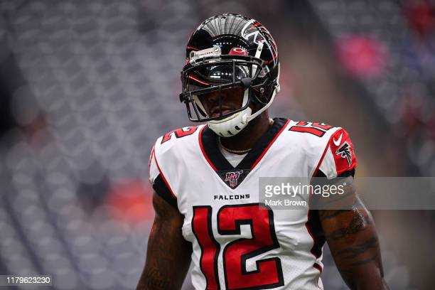 Mohamed Sanu of the Atlanta Falcons warms up prior to the game against the Houston Texans at NRG Stadium on October 06, 2019 in Houston, Texas.