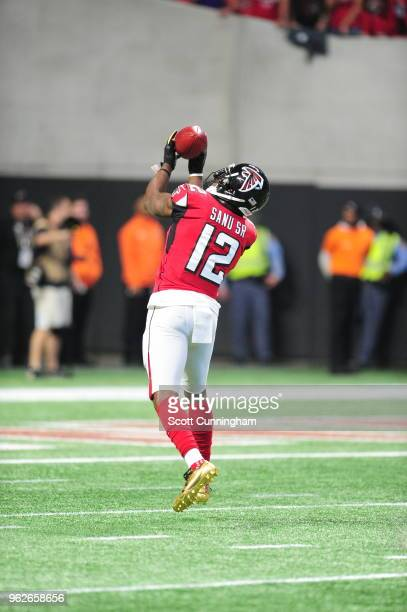 Mohamed Sanu of the Atlanta Falcons warms up prior to the game against the Minnesota Vikings at MercedesBenz Stadium on December 3 2017 in Atlanta...
