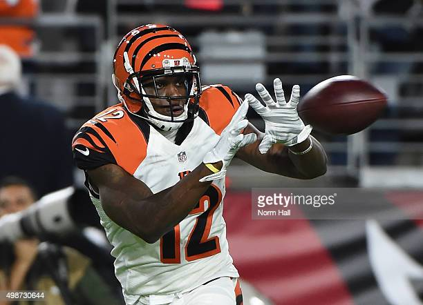 Mohamed Sanu of the Cincinnati Bengals catches a pass during warm ups prior to a game against the Arizona Cardinals at University of Phoenix Stadium...