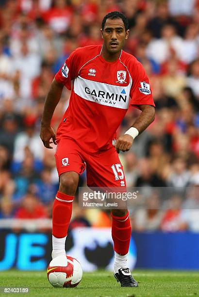 Mohamed Shawky of Middlesbrough with the ball at his feet during the Barclays Premier League match bewteen Middlesbrough and Tottenham Hotspur at the...