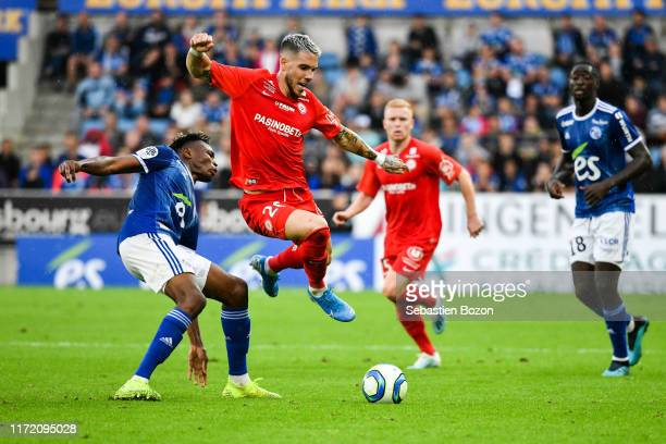 Mohamed SIMAKAN of Strasbourg and Mihailo RISTIC of Montpellier during the Ligue 1 match between Strasbourg and Montpellier on September 29 2019 in...