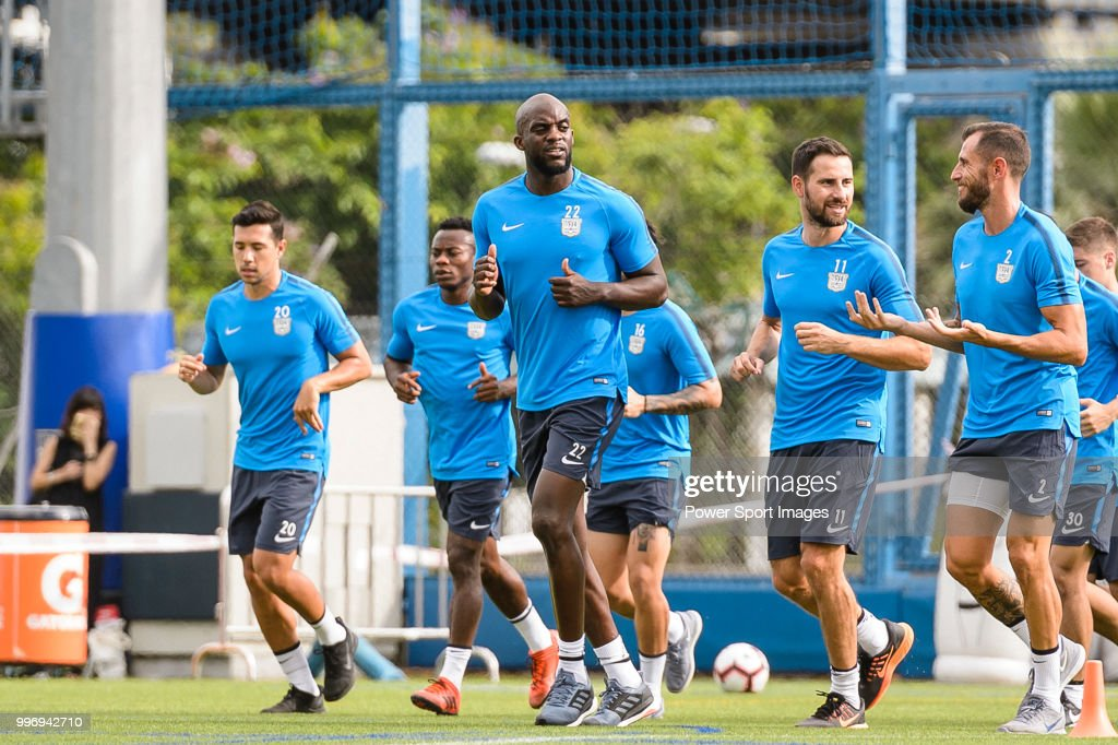 #22 Mohamed Sissoko (C) during his training session on July 12, 2018 in Hong Kong.