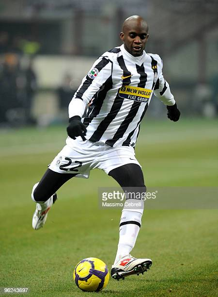 Mohamed Sissoko of Juventus FC runs during the Tim Cup match between FC Inter Milan and Juventus FC at Stadio Giuseppe Meazza on January 28 2010 in...