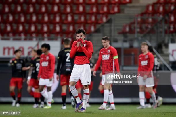 Mohamed Taabouni of AZ Alkmaar U23 disappointed during the Dutch Keuken Kampioen Divisie match between Excelsior v AZ Alkmaar U23 at the Van Donge &...