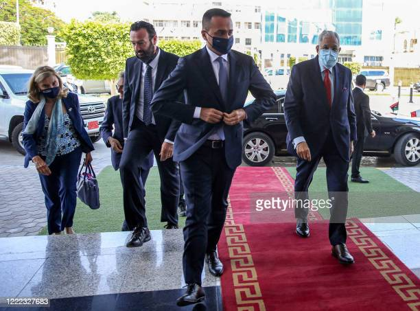 Mohamed Taha Siala , Foreign Minister of Libya's UN-recognised Government of National Accord receives Italy's Foreign Minister Luigi Di Maio in the...