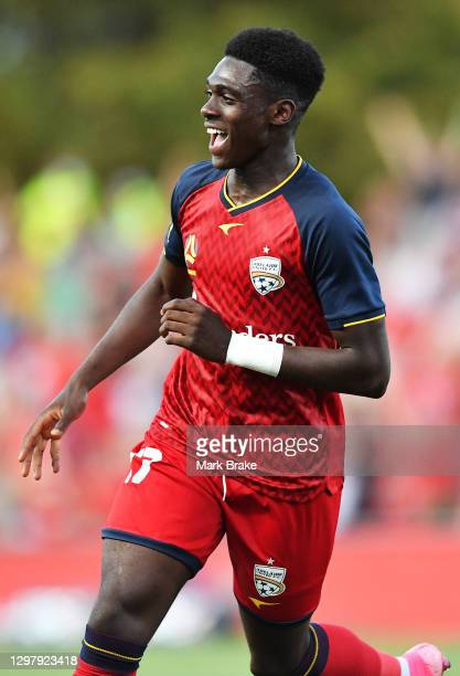 Mohamed Toure of Adelaide United celebrates after scoring his teams first goal during the A-League match between Adelaide United and the Melbourne...