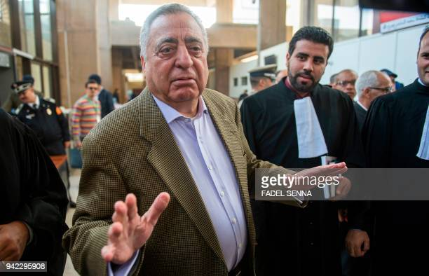 Mohamed Ziane the lawyer of Moroccan newspaper publisher and journalist Taoufiq Bouachrine arrives at the courthouse on April 5 in Casablanca
