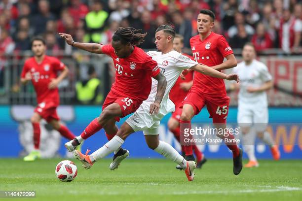 Mohamet Morabet of 1FC Kaiserslautern challenges Renato Sanchez of FC Bayern Muenchen during the friendly match between 1 FC Kaiserslautern and FC...
