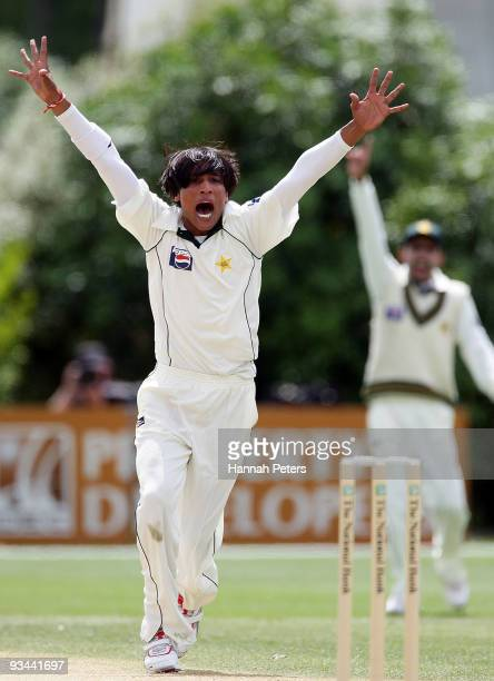 Mohammad Aamer of Pakistan appeals successfully for the wicket of Daniel Flynn of New Zealand during day four of the First Test match between New...