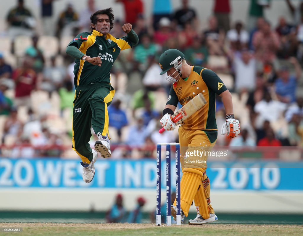 Mohammad Aamer of Pakistan celebrates the wicket of David Warner of Australia during the ICC World Twenty20 semi final between Australia and Pakistan at the Beausjour Cricket Ground on May 14, 2010 in Gros Islet, Saint Lucia.